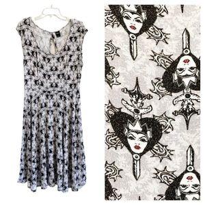 TORRID Disney Evil Queen Gray & Black Swing Dress